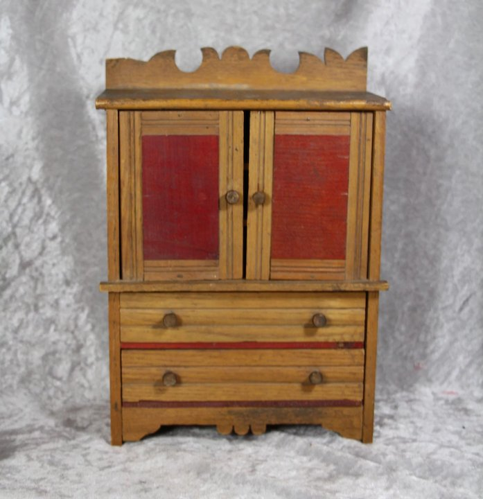 Antique German Doll Cabinet Cupboard