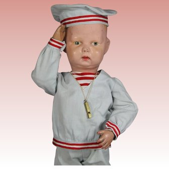 Antique Schoenhut Boy Doll Dressed as Sailor!
