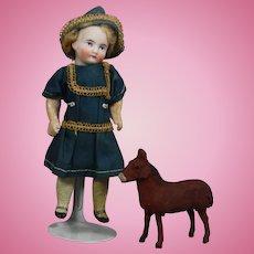 Antique German Mini Putz Horse - All Bisque Doll Size!