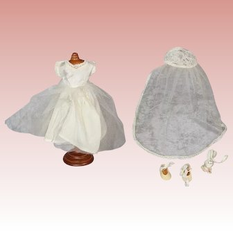 "Vintage 8"" Doll Bride Outfit - Dress, Veil, Shoes, Bouquet - Ginny Muffie Etc"