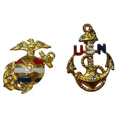 VInt WWII Navy and Marine Homefront Jewelry Pendant and Pin