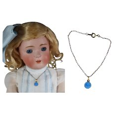 Antique French Blue Enamel Doll Necklace!