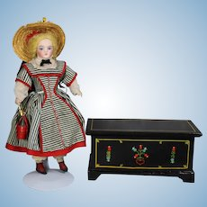 Lovely Vintage Doll Pennsylvania Dutch Blanket Chest!