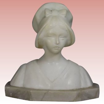 Antique Small Alabaster Marble Bust - Great for Doll's Dresser!