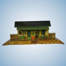 French 1930s Tin Litho Paris Train Station - Great Small Doll Size! Hornby Meccano