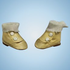 Vintage 30s Doll Oil Cloth Boots Shoes w Side Snaps & Socks!