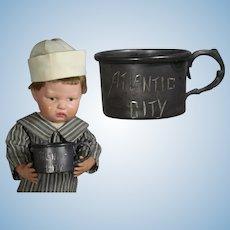 Antique Victorian Child's Large Doll Atlantic City Souvenir Mug!