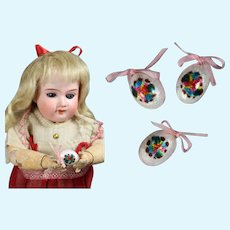 Three Beautiful Antique Faberge Style Easter Eggs for your French Fashion Doll!