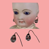 Paris Find! Antique French Fashion Doll Glass Drop Earrings!