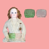 Antique Intaglio Czech Glass Decorative Pieces - Great Size for Doll!