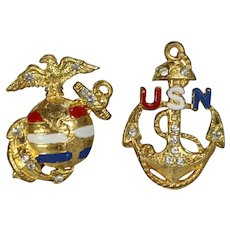 WWII Patriotic Sweetheart Pins - Homefront NAVY & MARINES