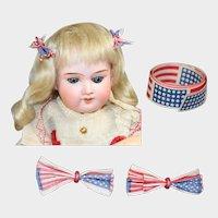 Vintage Patriotic Red White Blue Doll Size Hair Bows & Flag Paper Trim!