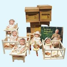 1935 Madame Alexander MINT Set Dionne Quintuplet Dolls, Furniture, Boxes!