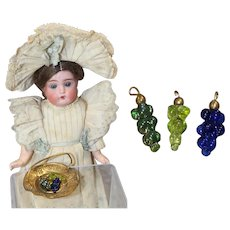 Antique Czech Glass Mini Doll Dollhouse Grapes!
