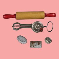 VIntage 1940s Toy Baking Items! Red Handled Mixer Rolling Pin!