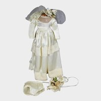 """Vintage 14"""" Factory Doll Bridal Outfit Wedding Gown Possibly Arranbee"""