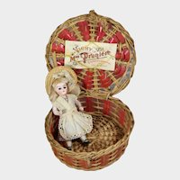Tiny Antique French Basket w Label - Perfect for Small Doll!