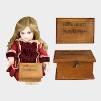 Darling Antique Doll Mini Hope Chest Marked Germany