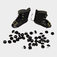 20 Antique Black Shoe Buttons for Doll Shoes or Teddy Eyes!