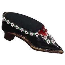 Gorgeous Antique Victorian Beaded Shoe Sewing Pin Cushion!