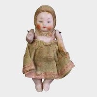 """Antique 2.5"""" Bisque German Jointed Candy Baby Doll"""