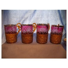 Set of Bohemian Cut to Clear Cups with Holders