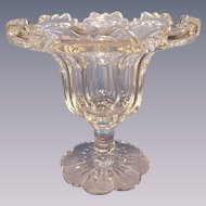 Val St Lambert Cut and Footed Flower Bowl