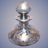 C. 1900 Sterling Overlay Perfume Bottle