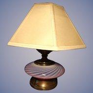 Fenton Opalescent Swirl Lamp