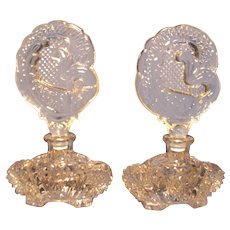 Pair of Czech Perfumes w/ Peacock Stoppers