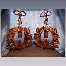 Pair of Ornate Vintage Ormolu and Glass Perfume Bottles