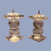 Pair Swarovski Double Ball Pin Candleholders