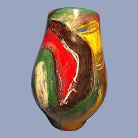 Colorful Brushstroke Art Glass Vase