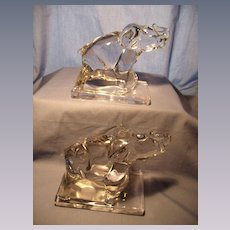 Pair New Martinsville Elephant Bookends