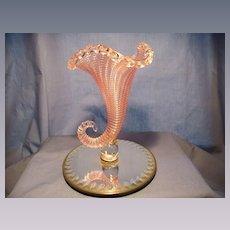 Richardson Threaded Glass Cornucopia Vase