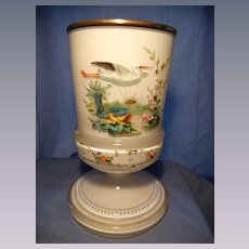 Antique Cased and Hand Enameled Footed Vase