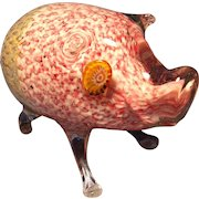 Murano Pink/Gold Bullicante Pig
