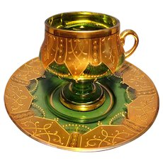 Bohemian Cup and Saucer w/ Heavy Gold Decoration