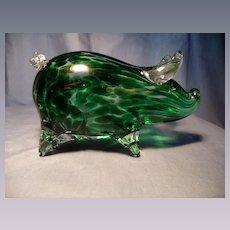 Mottled Green Art Glass Pig Figurine/Paperweight