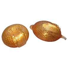 Pair of Murano Golden Fruit Paperweights