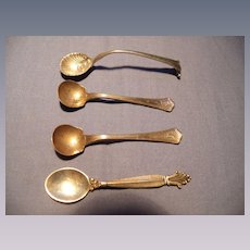 Four Sterling Salt Spoons