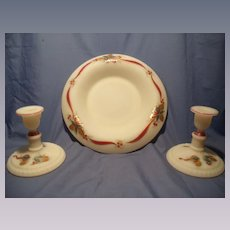 Fenton 3 Pc Hand Painted Christmas Set