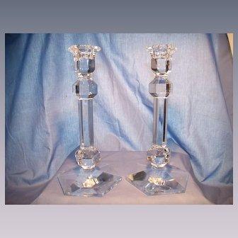 Pair of Val Saint Lambert Gardenia Candlesticks