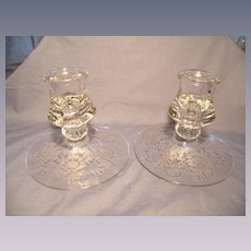 Pair of Heisey Orchid Low Candlesticks
