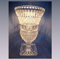 Geometric Cut Crystal Pedestal Vase
