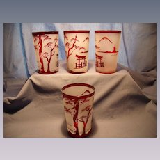 Four Cameo Style Ruby / Frosted glass Tumblers