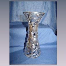 Art Nouveau Sterling Overlay Vase