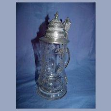 Antique German  Cut & Engraved Glass Stein