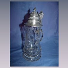 Antique German  Cut & Engraved Glass Stein