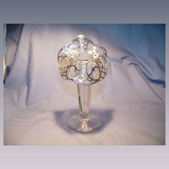 1912 Sterling Overlay Lily Vase